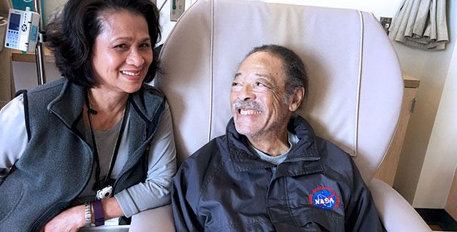 Lilia Torres, a licensed vocational nurse, with grateful patient Luke Conley at the UC Davis Comprehensive Cancer Center. © UC Davis