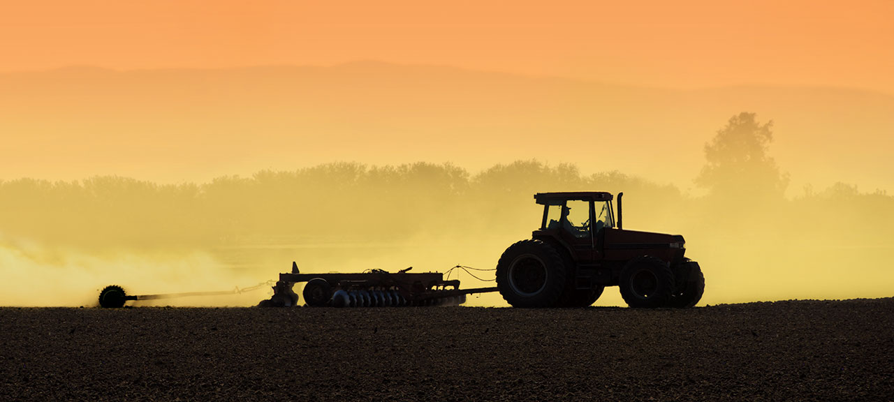 Silhouette of tractor plowing field