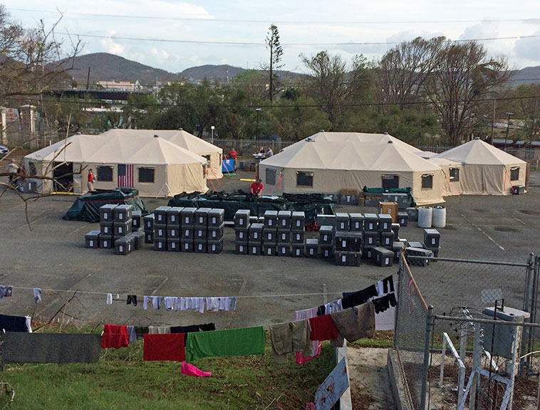 Tent village in Puerto Rico after the hurricane