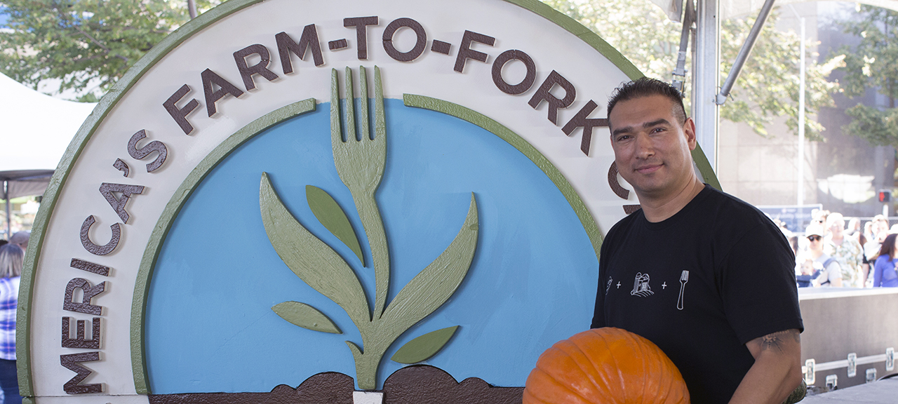 UC Davis Health executive chef Santana Diaz at Sacramento's Farm-to-Fork Festival