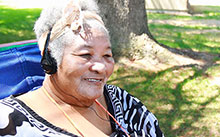 Music therapy is uplifting to Gertrude Lasley, another participant in the School of Nursing's Music & Memory study.