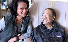 Lilia Torres, a licensed vocational nurse, with grateful patient Luke Conley at the UC Davis Comprehensive Cancer Center.