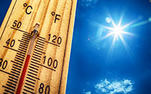 Photograph of outdoor thermostat indicating hot weather © iStockphoto