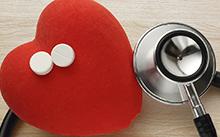 Heart, stethoscope, aspirin