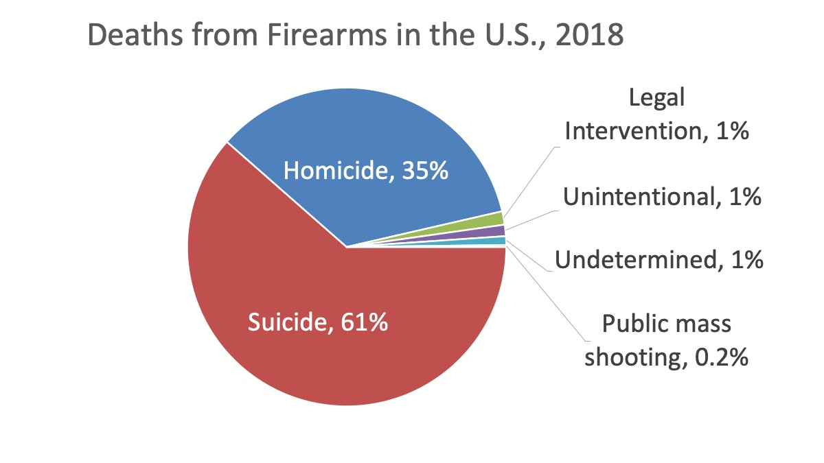 pie chart showing percentage of deaths from firearms in the U.S. in 2017 by type